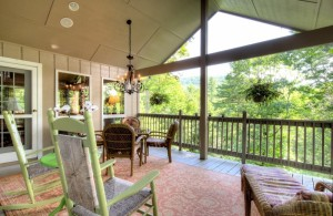 Covered Deck, featuring ridge line view and noisy, rushing stream